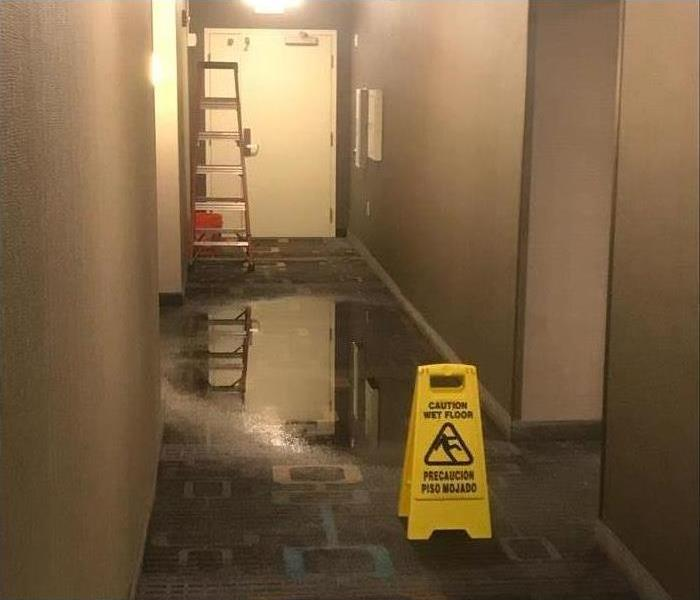 Office building with standing water on carpet, there is a latter and a Caution Wet Floor Sign
